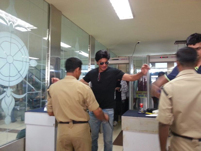 Shah Rukh Khan at the security hold area of Mumbai domestic airport