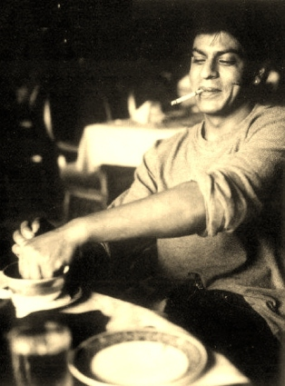 Shah Rukh at a restaurant abroad. Clicked by Gauri