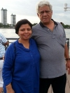 Om Puri with his wife Nandita