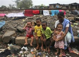 children in a shanty