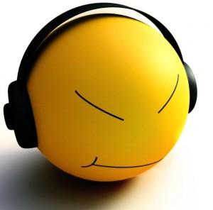 Unhappy music smiley