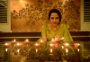 Actress Hema Malini is lighting up the urthern lamps.
