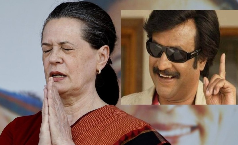 Sonia Gandhi and rajnikanth
