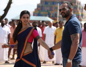 Rohit Shetty with Deepika Padukone while shooting Chennai Express