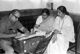 Asha and Versha at a recording session
