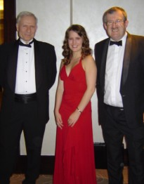 Winner Melissa Turcotte with Professor Ari Laptev, Head of Mathematics at Imperial (left) and Dr Frank Berkshire, Director of undergraduate studies (right)