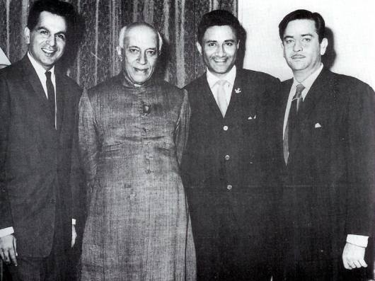 Raj Kapoor, Dilip Kumar and Dev Anand with Prime Minister Jawaharlal Nehru. Undated picture clicked during the 1950s