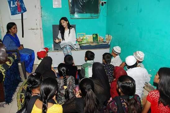 Amrita inside the classroom