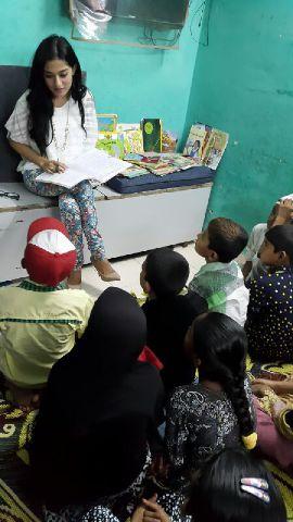 Amrita teaching inside the classrooom