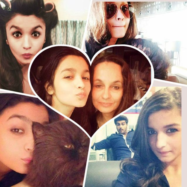 Alia Bhatt is a self-confessed selfie addict. Here's a collage of some of her best selfies.