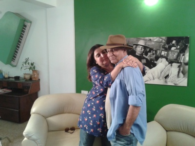 Please don't copy this exclusive picture of Ashok Mehta with Farah Khan. Picture © Khalid Mohamed.