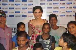 Sonam Kapoor at the MAMI last year with the talented street kids of the documentary Little Big People