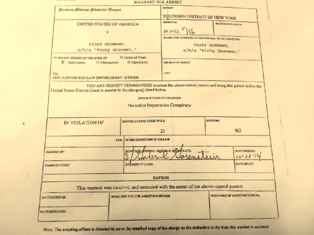 The arrest warrant against Vicky Goswami from US Judge Gabriel Gorenstein of the Southern District Court in New York, on October 28. It was delivered to the Kenyan authorities through the US Embassy in Nairobi on November 10, 2014.