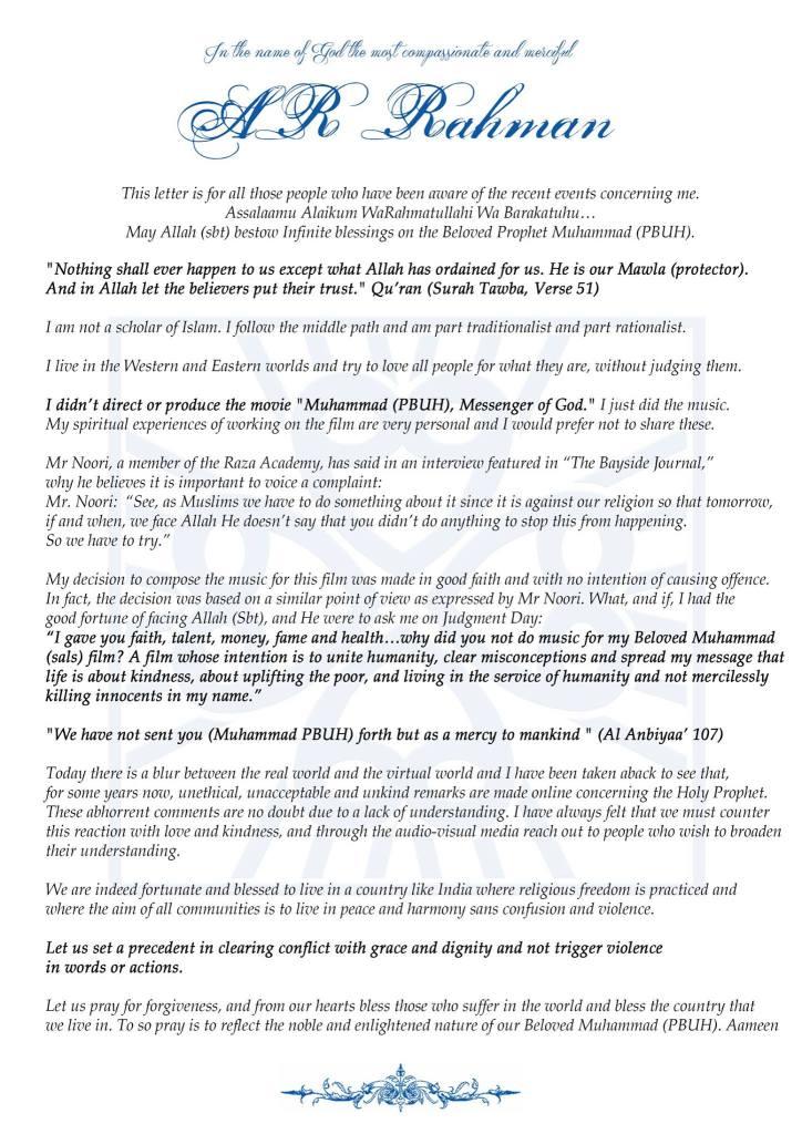 A R Rahman letter