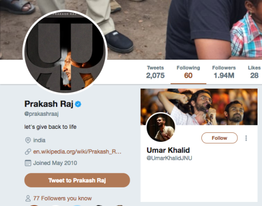 Prakash Raj and Umar Khalid